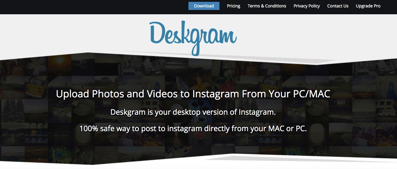 Deskgram download button