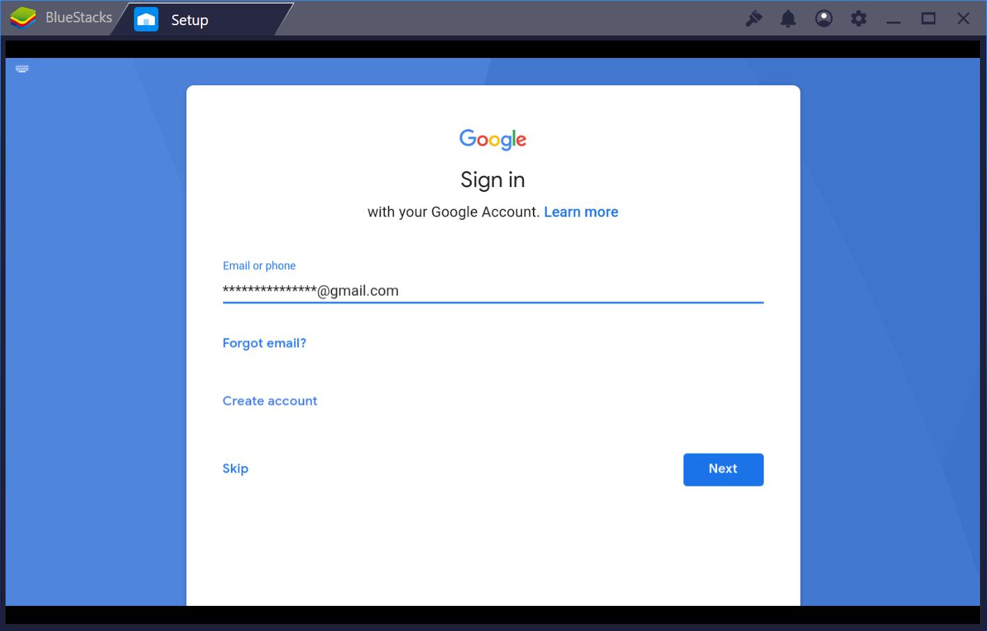 Google sign in Bluestacks